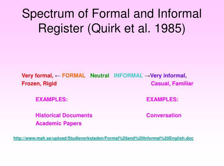 Spectrum of Formal and Informal Register (Quirk et al. 1985)