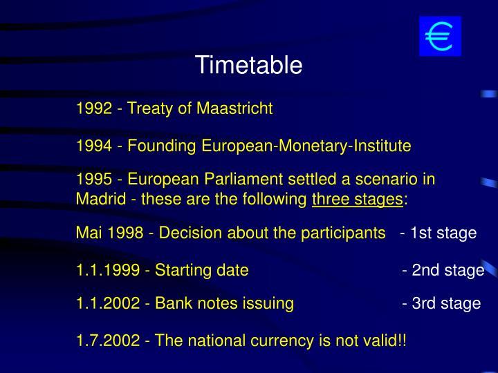 1992 - Treaty of Maastricht
