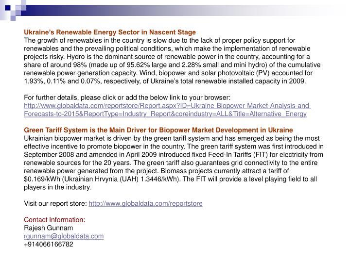 Ukraine's Renewable Energy Sector in Nascent Stage
