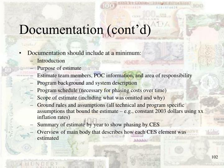 Documentation (cont'd)