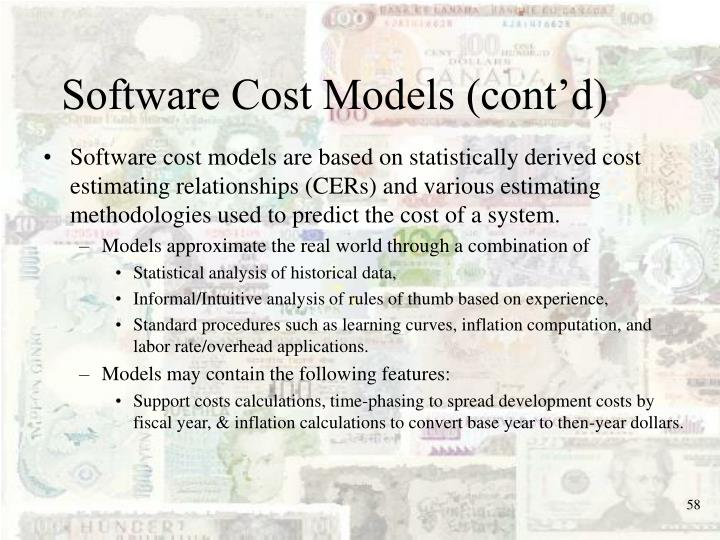 Software Cost Models (cont'd)