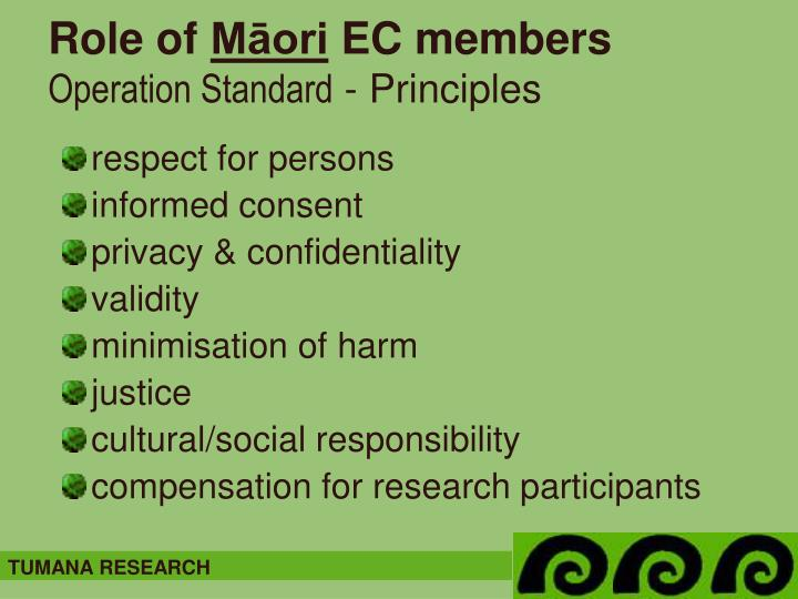 Role of m ori ec members operation standard principles