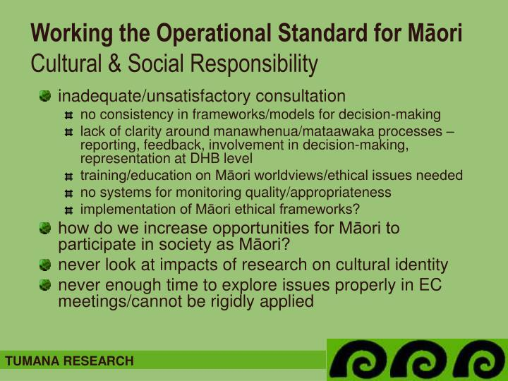 Working the Operational Standard for Māori