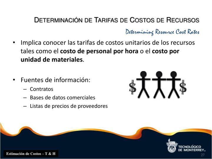 Determinación de Tarifas de Costos de Recursos