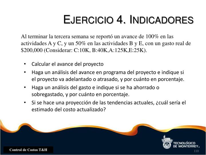 Ejercicio 4. Indicadores