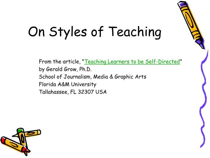 On Styles of Teaching