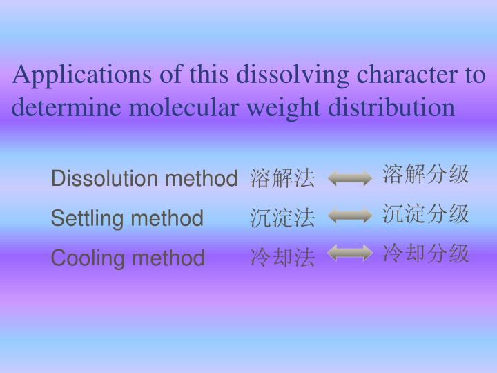 Applications of this dissolving character to determine molecular weight distribution