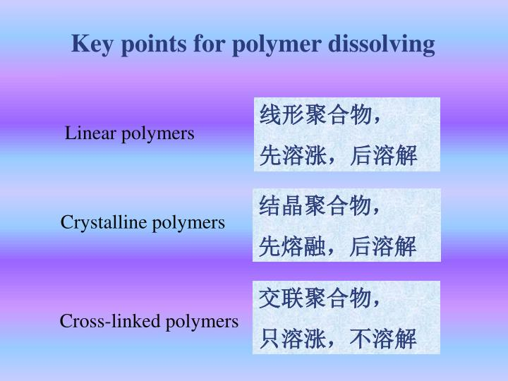 Key points for polymer dissolving