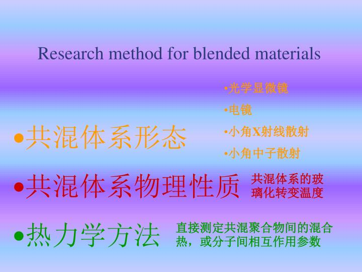 Research method for blended materials