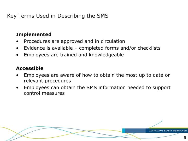 Key Terms Used in Describing the SMS