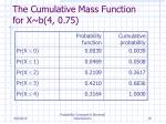the cumulative mass function for x b 4 0 75
