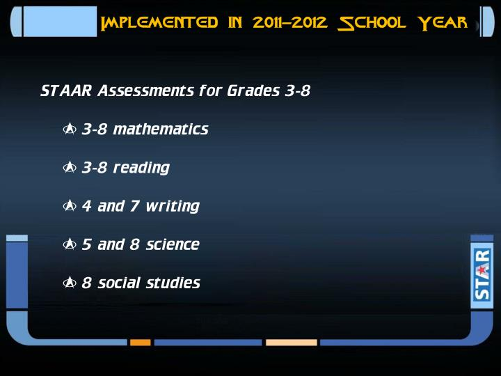 Implemented in 2011-2012 School Year