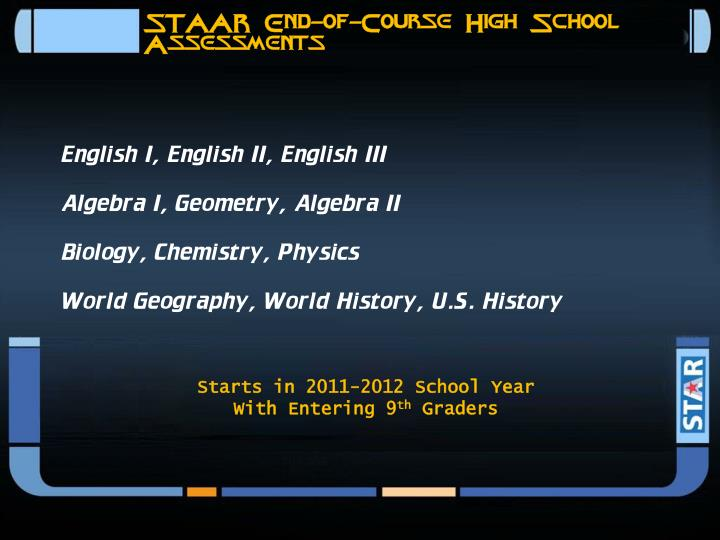 STAAR End-of-Course High School Assessments