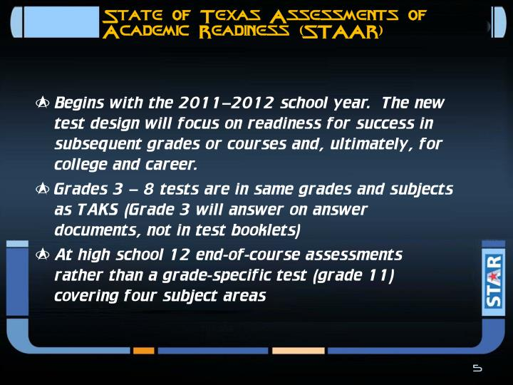 State of Texas Assessments of Academic Readiness (STAAR)