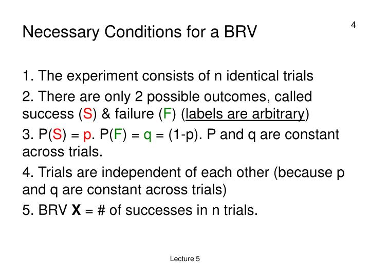 Necessary Conditions for a BRV
