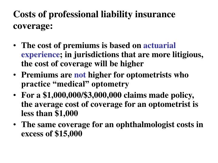 Costs of professional liability insurance coverage: