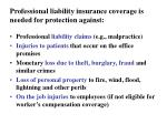 professional liability insurance coverage is needed for protection against