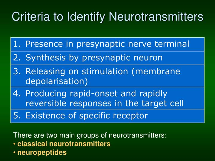 Criteria to Identify Neurotransmitters