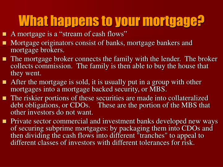 What happens to your mortgage?