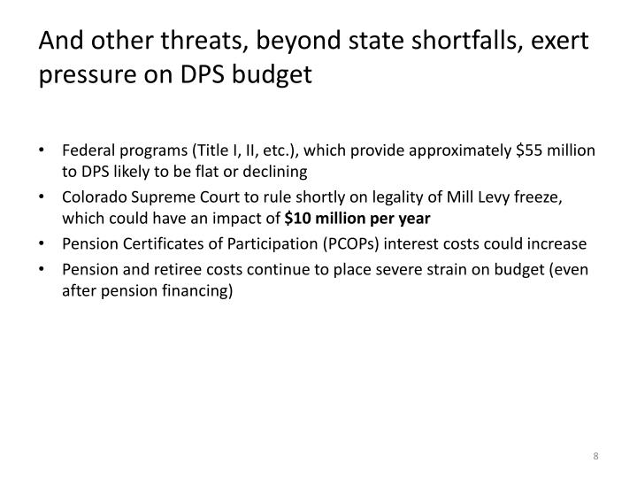 And other threats, beyond state shortfalls, exert pressure on DPS budget