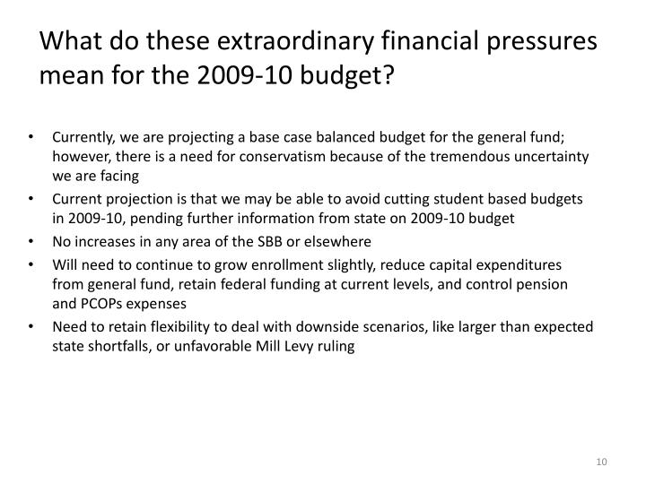 What do these extraordinary financial pressures mean for the 2009-10 budget?