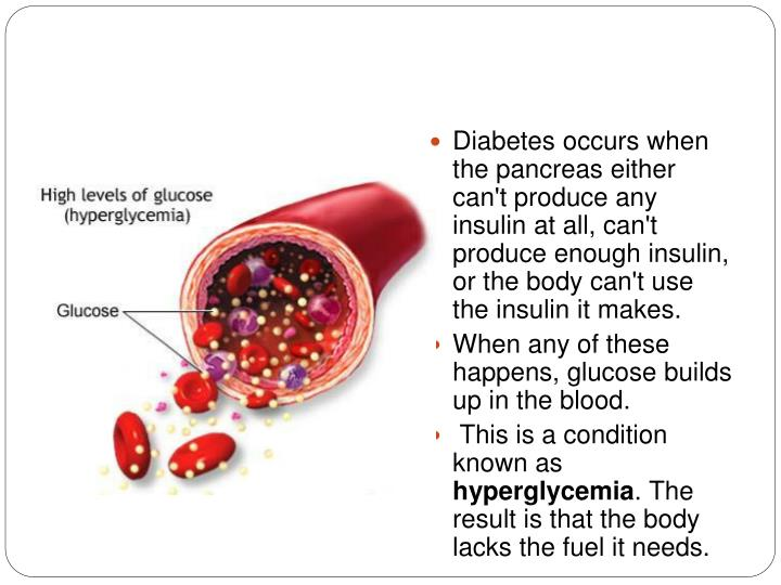 Diabetes occurs when the pancreas either can't produce any insulin at all, can't produce enough insulin, or the body can't use the insulin it makes.