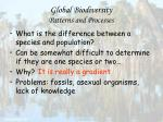 global biodiversity patterns and processes14