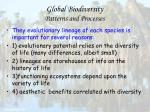 global biodiversity patterns and processes24