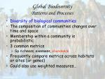global biodiversity patterns and processes25