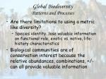 global biodiversity patterns and processes26
