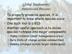 global biodiversity patterns and processes50