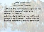 global biodiversity patterns and processes61