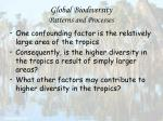 global biodiversity patterns and processes66