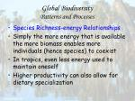 global biodiversity patterns and processes67