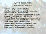 global biodiversity patterns and processes89