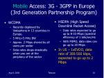 mobile access 3g 3gpp in europe 3rd generation partnership program