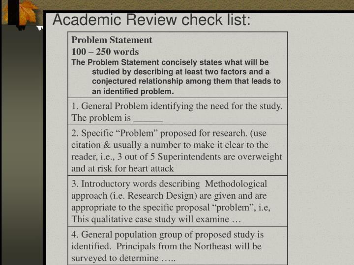 Academic Review check list: