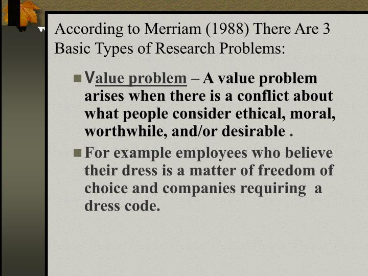 According to Merriam (1988) There Are 3 Basic Types of Research Problems: