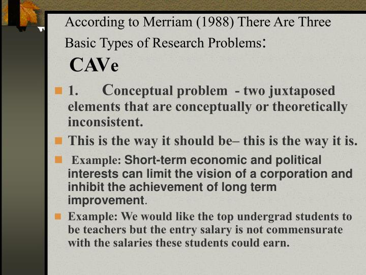According to Merriam (1988) There Are Three Basic Types of Research Problems
