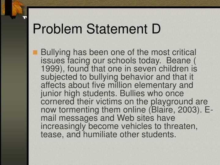 Problem Statement D
