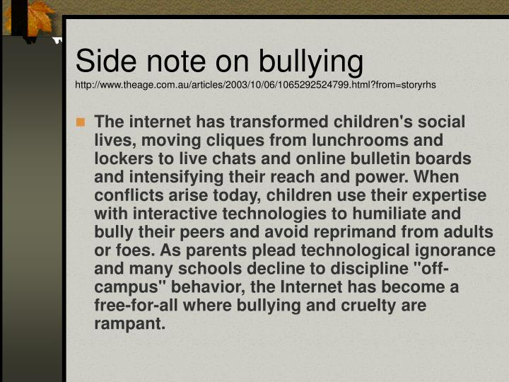 Side note on bullying