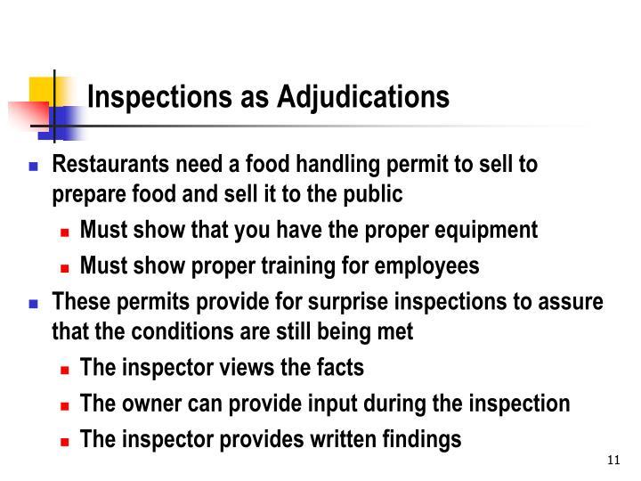 Inspections as Adjudications