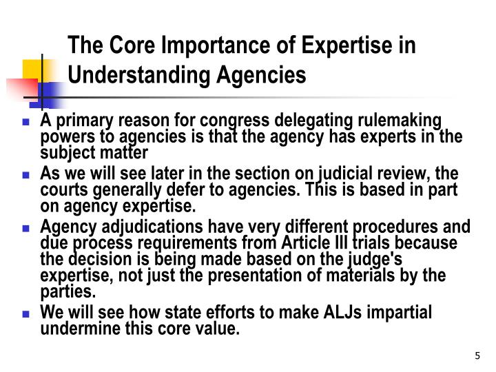 The Core Importance of Expertise in Understanding Agencies