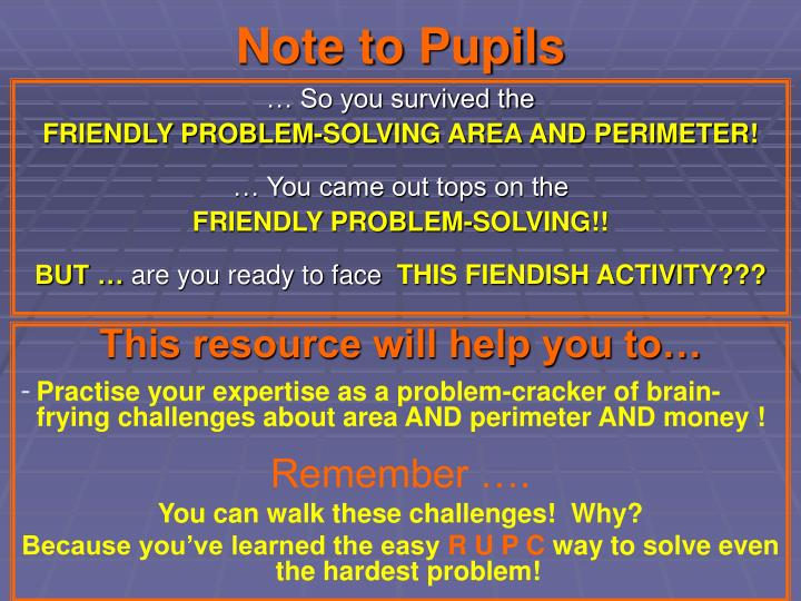 Note to pupils
