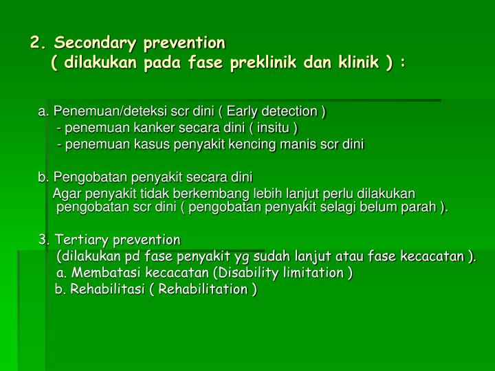 2. Secondary prevention