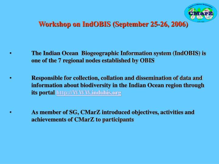 Workshop on IndOBIS (September 25-26, 2006)