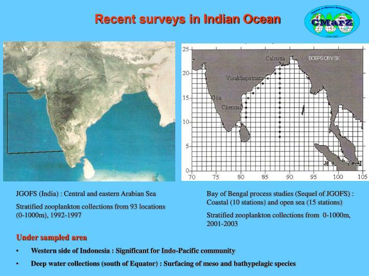 Recent surveys in Indian Ocean