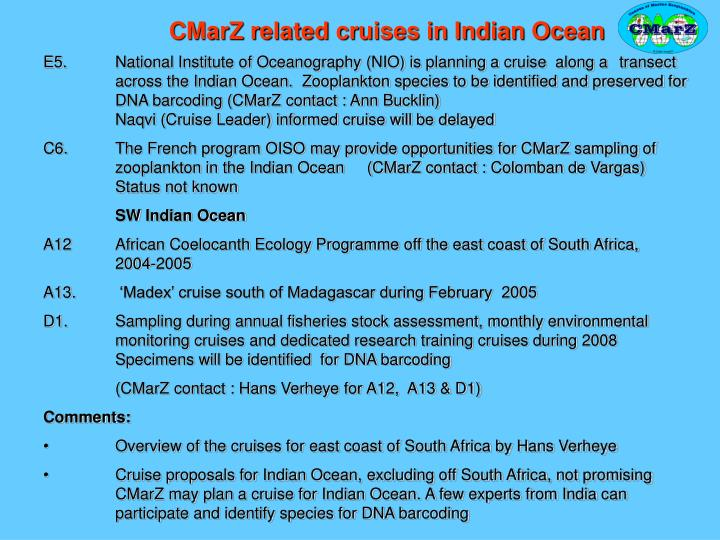 CMarZ related cruises in Indian Ocean