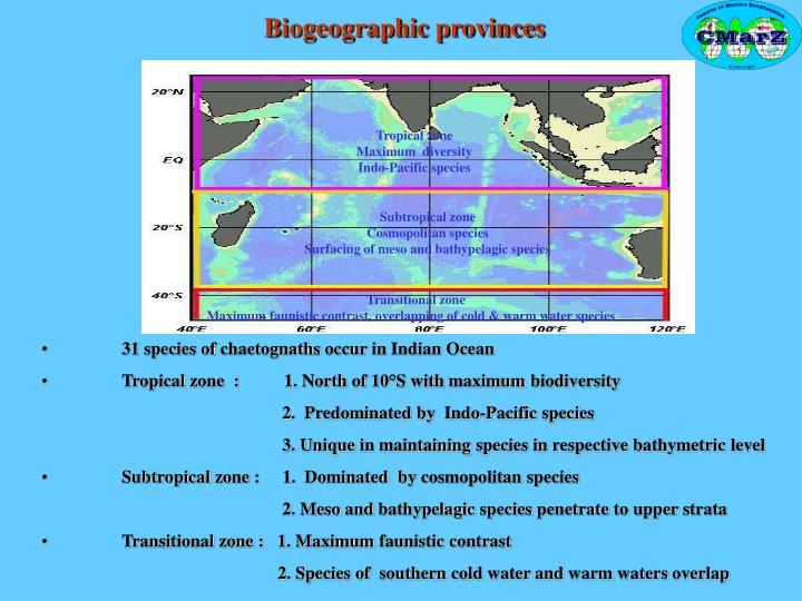 Tropical zone                                                                                                                 Maximum  diversity                                                                                          Indo-Pacific species