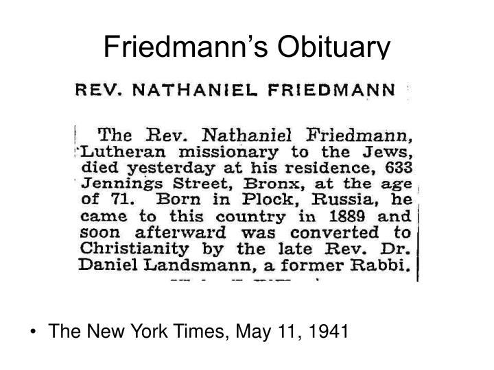 Friedmann's Obituary